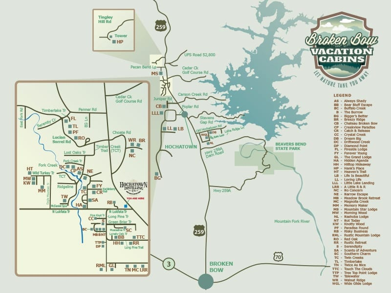 Broken Bow Lake Map Broken Bow Vacation Cabins // Map
