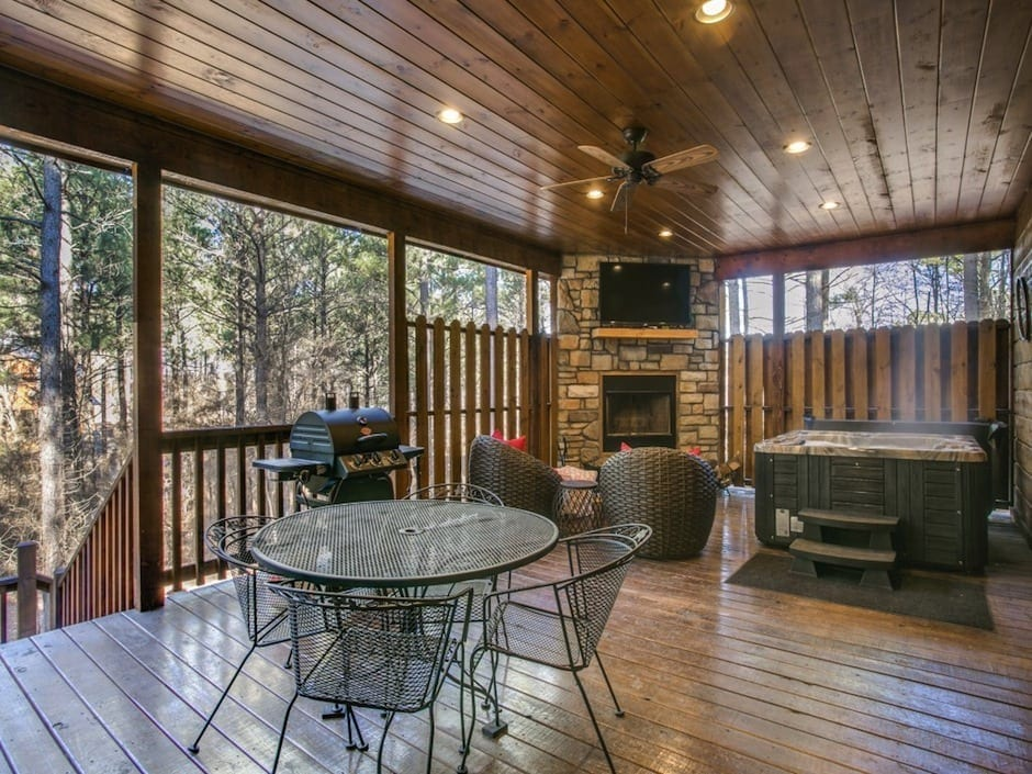woodland-escape-deck fireplace hottub dining-13